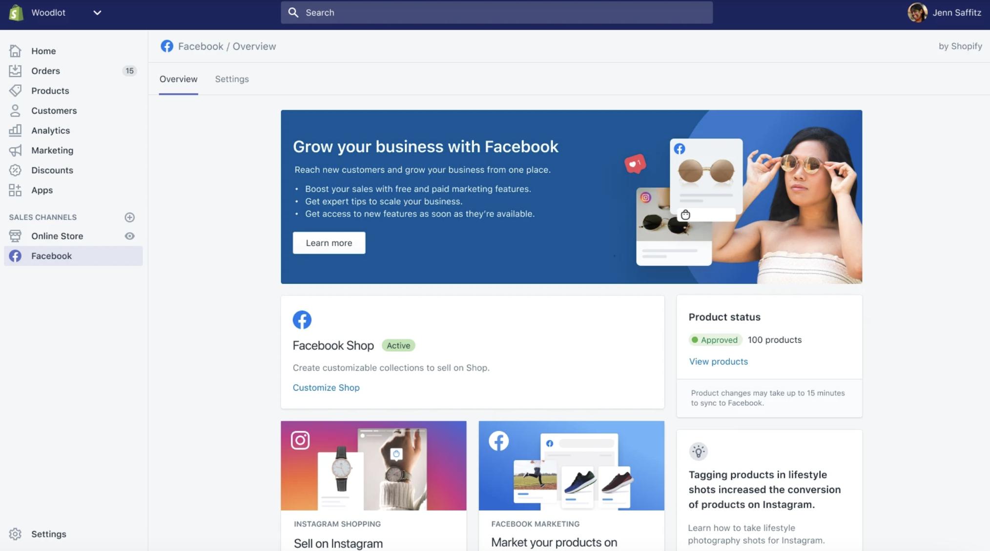 Shopify og Facebook og Instagram